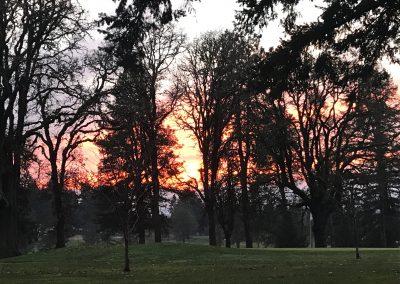 Corvallis Club 18th hole sunset orange skies